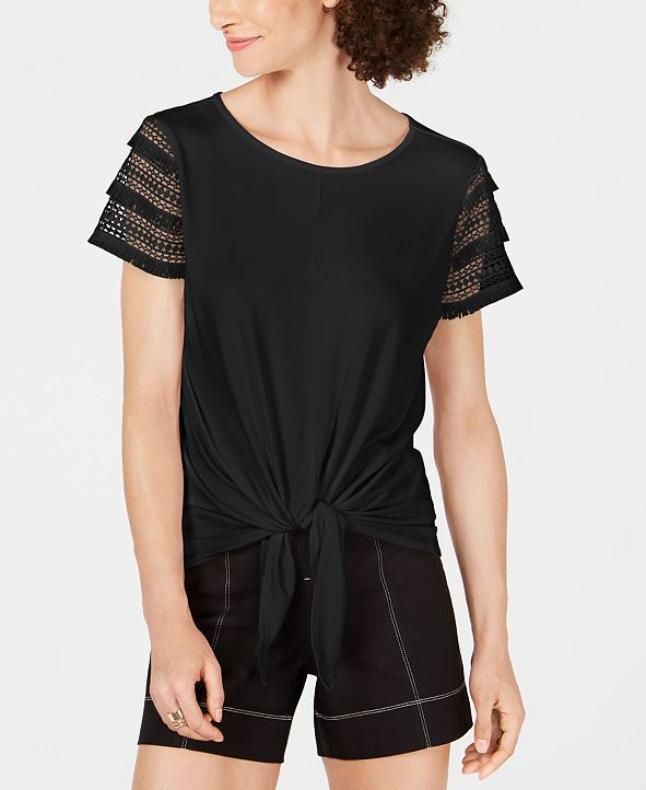 INC International Concepts INC Lace-Sleeve Tie-Front Top, Created for Macy's