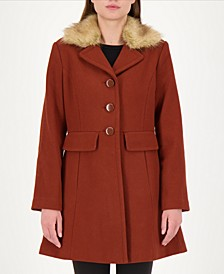 Faux-Fur Trim Walker Coat, Created for Macy's
