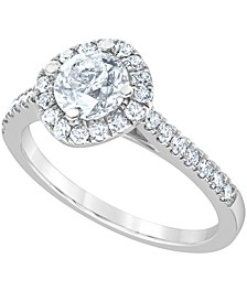 Diamond Halo Engagement Ring (1-3/8 ct. t.w.) in 14k White Gold