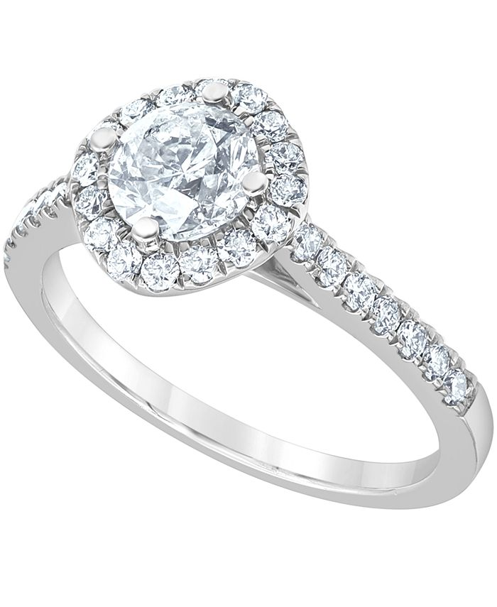 Macy's - Diamond Halo Engagement Ring (1-3/8 ct. t.w.) in 14k White Gold