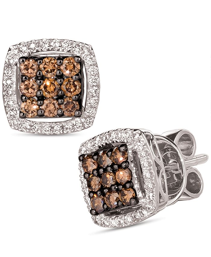 Le Vian - Chocolate Diamond (3/8 ct. t.w.) & Nude Diamond (1/4 ct. t.w.) Square Cluster Stud Earrings in 14k White Gold