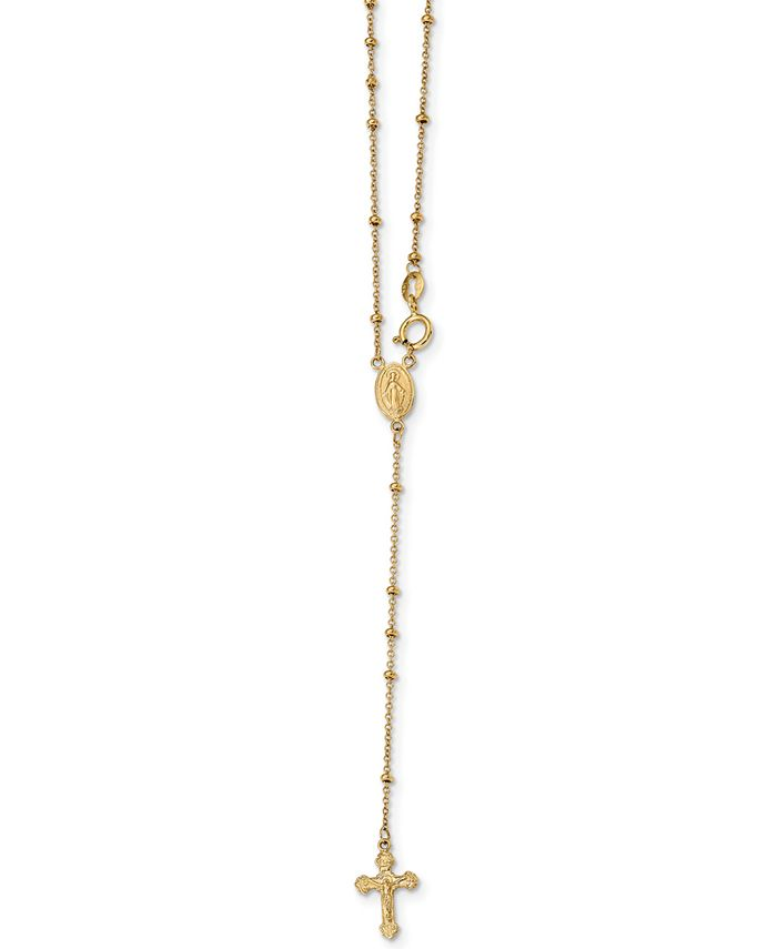 """Macy's - Cross Rosary 19-1/2"""" Lariat Necklace in 14k Gold"""