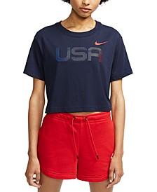 Women's Sportswear Cotton Graphic Cropped T-Shirt