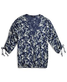 Floral-Print Button-Front Top