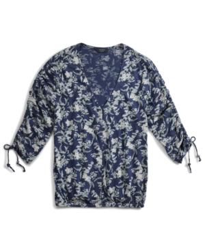 Lucky Brand FLORAL-PRINT BUTTON-FRONT TOP
