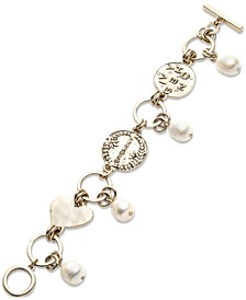 Gold-Tone & Genuine Pearl (10x12mm) Logo Disc Flex Bracelet