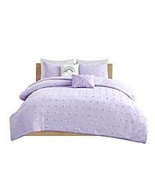 Callie Full/Queen 5 Piece Cotton Jacquard Pom Pom Comforter Set