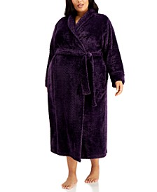 Plus Size Long Zig-Zag Cozy Robe, Created for Macy's
