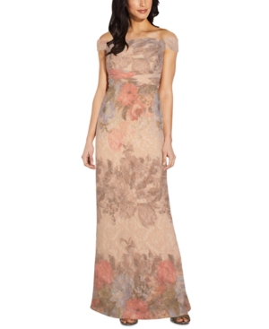 Adrianna Papell PRINTED OFF-THE-SHOULDER GOWN