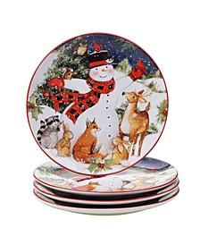 Magic of Christmas Snowman 4 Piece Dinner Plate