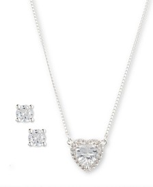 Boxed Cubic Zirconia Heart Necklace and Earring Set