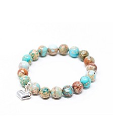 Jasper Sea Sediment with Heart Give Back Bracelet
