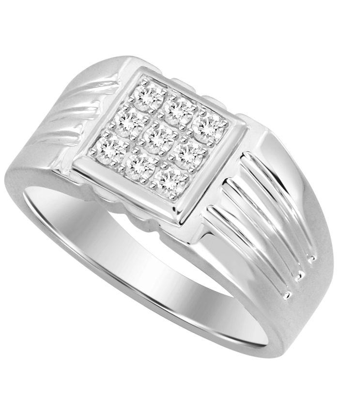 Macy's - Men's Diamond (1/3 ct. t.w.) Ring in 10k White or Yellow Gold