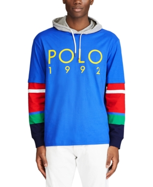Polo Ralph Lauren T-shirts MEN'S COLORBLOCKED LOGO GRAPHIC HOODED T-SHIRT