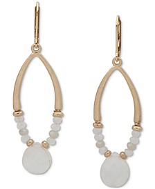 Gold-Tone Mother-of-Pearl Beaded Open Drop Earrings