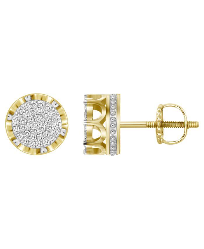 Macy's - Men's Diamond (1/4 ct. t.w.) Earring Set in 10k Yellow Gold
