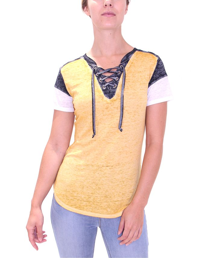 Crave Fame - Juniors' Lace-Up Burn-Out Top