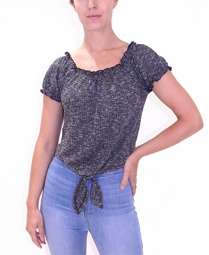 Crave Fame - Juniors' Puff-Sleeve Tie-Front Top