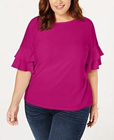 INC Plus Size Ruffle-Sleeve Top, Created for Macy's