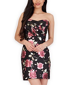 Juniors' Floral-Print Strapless Bodycon Dress