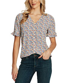 Floral-Print Ruffled-Sleeve Button-Down Top