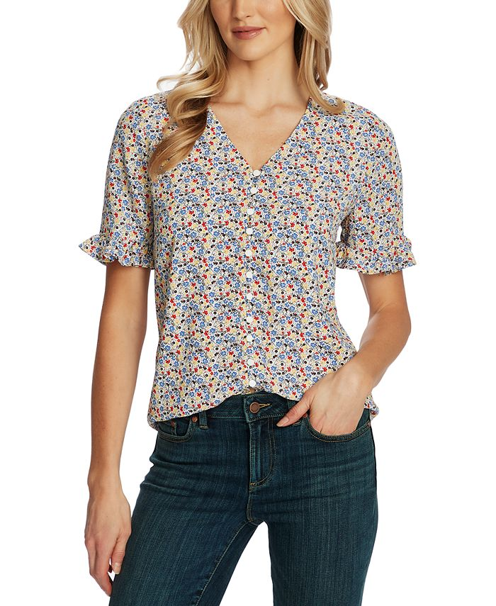 CeCe - Floral-Print Ruffled-Sleeve Button-Down Top