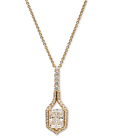 "Silver-Tone Cubic Zirconia & Stone Framed Pendant Necklace, 16"" + 1"" extender, Created for Macy's"