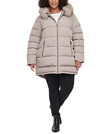 DKNY Plus Size Faux-Fur-Trim Hooded Water-Resistant Puffer Coat