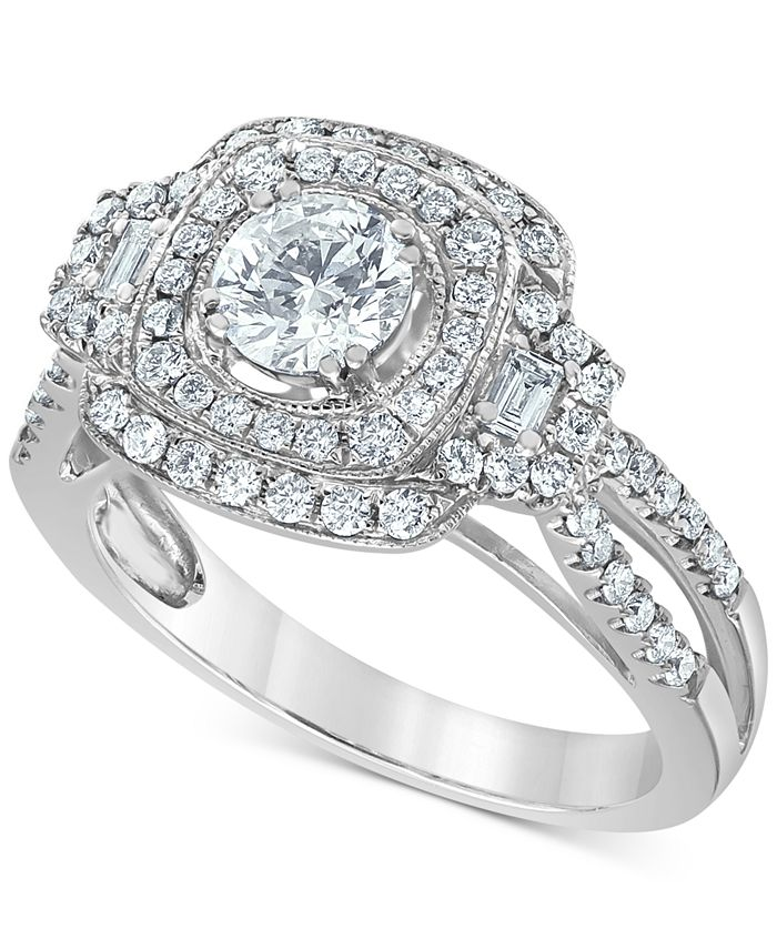 Macy's - Diamond Multi-Halo Engagement Ring (1-1/4 ct. t.w.) in 14k White Gold