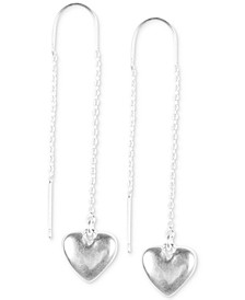 Silver-Tone Mini Heart Threader Earrings