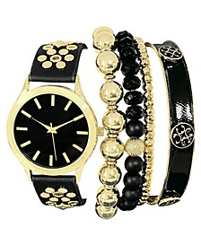 INC Women's Gold-Tone Studded Black Faux Leather Strap Watch 38mm & Bracelet Box Set, Created for Macy's