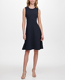 Petite Scuba Fit & Flare Dress