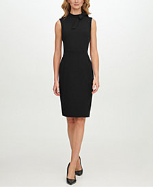 Calvin Klein Scuba-Crepe Tie-Neck Sheath Dress