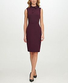 Scuba-Crepe Tie-Neck Sheath Dress