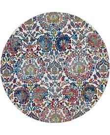 Ankara Global ANR06 Ivory and Blue 4' Round Rug