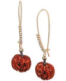 Gold-Tone Pavé Jack-o-Lantern Linear Drop Earrings
