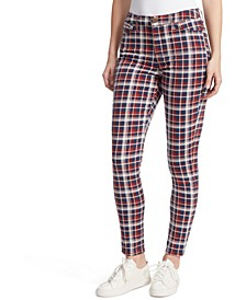 High-Rise Plaid Skinny Jeans