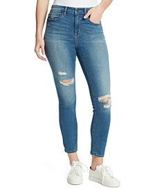 Distressed High-Rise Skinny Ankle Jeans