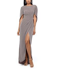 Glitter-Knit Cape Gown