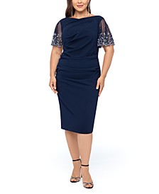 Plus Size Beaded-Sleeve Dress