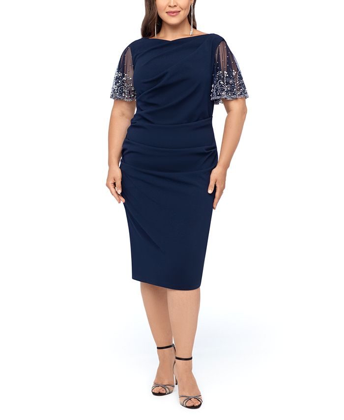 Betsy & Adam - Plus Size Beaded-Sleeve Dress