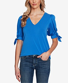 V-Neck Tie-Sleeve Top