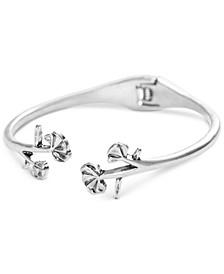 Silver-Tone Flower Cuff Bracelet