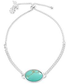 Silver-Tone Stone Bolo Bracelet