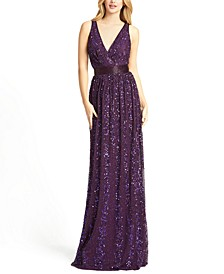 Embellished Sequin Gown