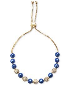 Gold-Tone Pavé Fireball & Blue Imitation Pearl Slider Bracelet, Created for Macy's
