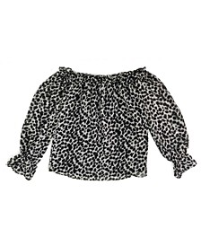 INC Petite Animal-Print Off-The-Shoulder Top, Created for Macy's