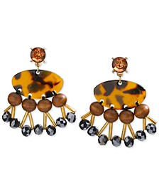 INC Gold-Tone Tortoise-Look, Wood, & Bead Drop Earrings, Created for Macy's