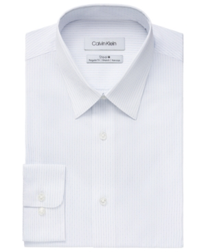 Calvin Klein Men's Steel Classic/Regular-Fit Non-Iron Performance Stretch Stripe Dress Shirt