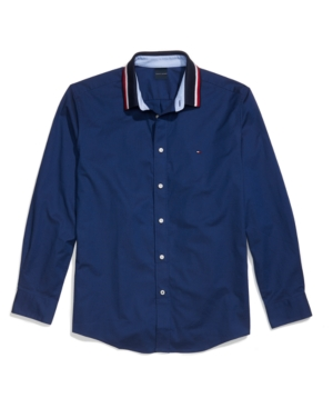 Tommy Hilfiger Adaptive Men's Mayer Custom-Fit Stretch Contrast Collar Shirt with Magnetic Buttons and Velcro Cuffs